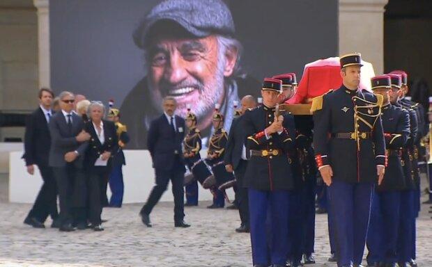 Beerdigung des Jean-Paul Belmondos. Quelle: Screenshot YouTube