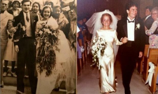 Es ist schon 85 Jahre alt und sieht immer noch gut aus: vier Generationen von Frauen heiraten in einem Kleid