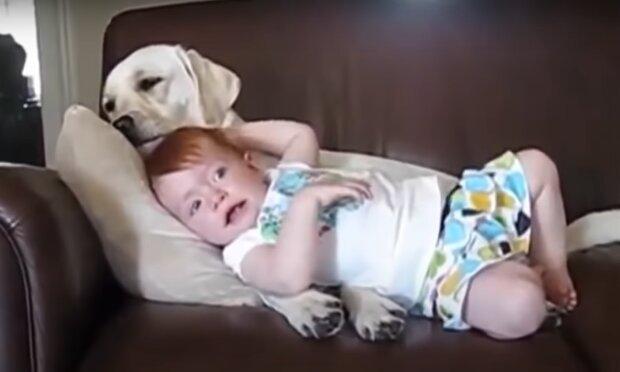Roger und das Baby. Quelle: YouTube Screenshot