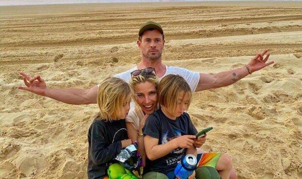 Chris Hemsworth, Elsa Pataky und ihre Kinder. Quelle: Screenshot Youtube