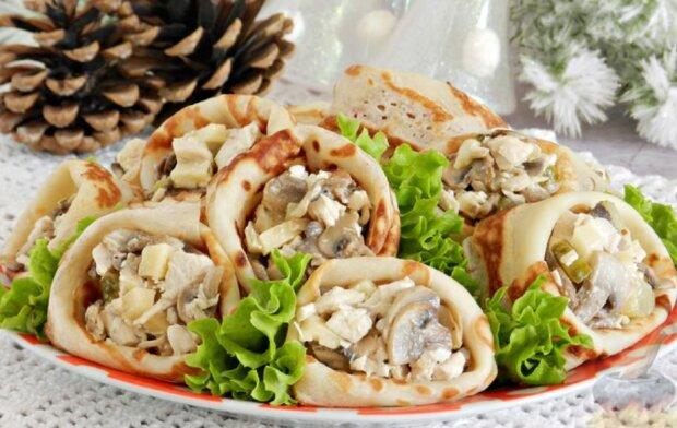 Fleischsalat in Pfannkuchen: ein köstliches Rezept für den Feiertag