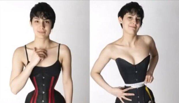 Eine Frau trägt 16 Stunden am Tag ein Korsett, um eine dünne Taille zu haben