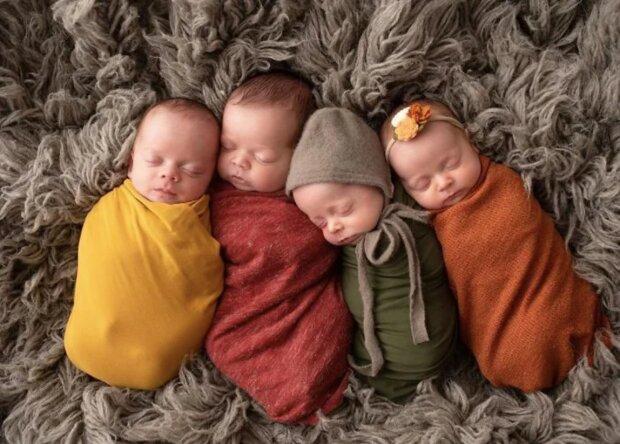 Große Familie: Ein Paar entschied sich für die Adoption von vier Kindern und brachte bald Vierlinge zur Welt