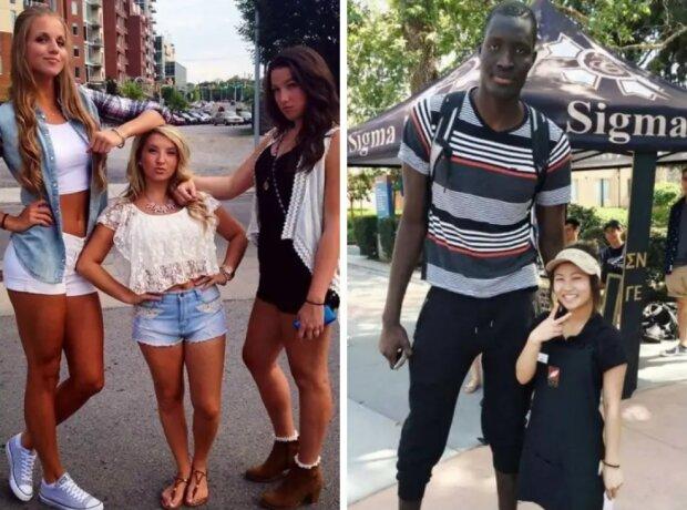 Groß vs. klein : Menschen unterschiedlicher Größe im Gegensatz zu ein ander