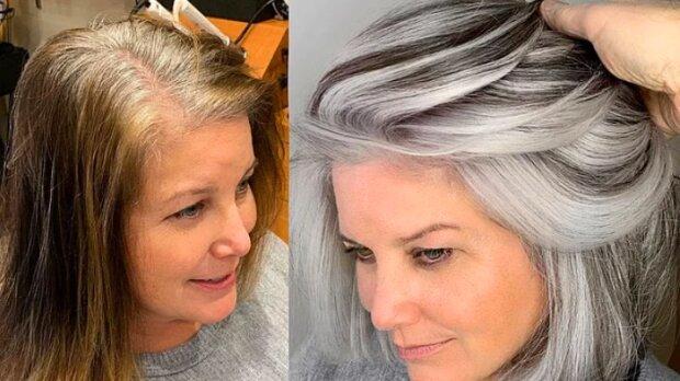 Der kalifornische Friseur versteckt das Grau nicht, sondern macht es zu einem Highlight