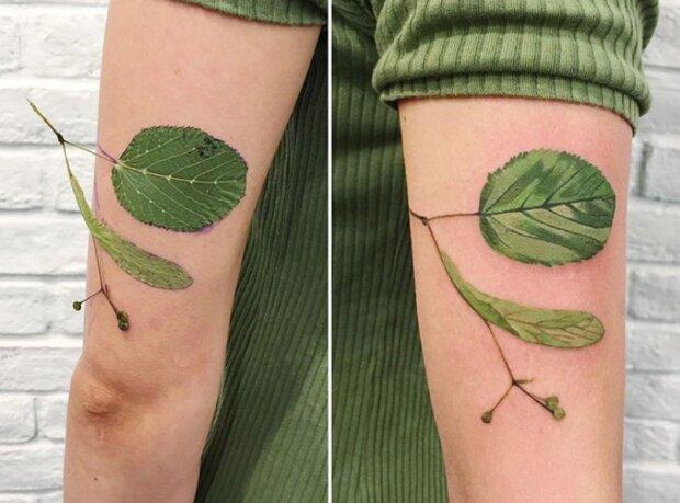 Tätowierungen, die von echten Pflanzen schwer zu unterscheiden sind