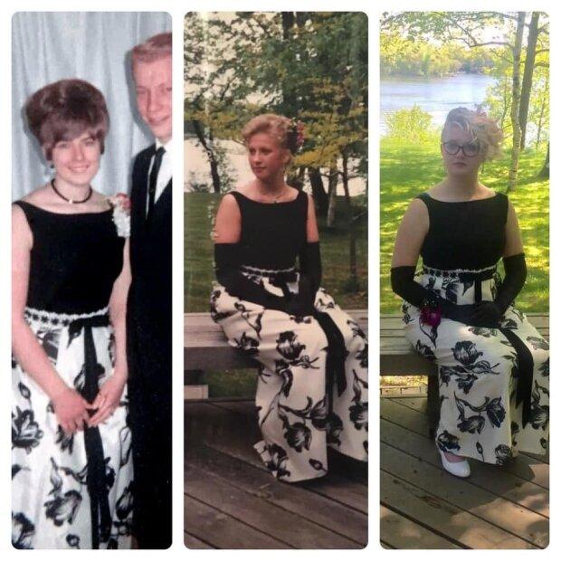 Drei Generationen und ein Kleid: die junge Frau zog ein Ballkleid an, das sie geerbt hat